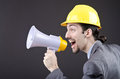 Man shouting   with loudspeaker Royalty Free Stock Image