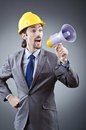 Man shouting  with loudspeaker Stock Images
