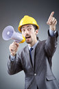 Man shouting and yelling with loudspeaker Royalty Free Stock Photo