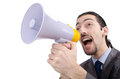 Man shouting and yelling with loudspeaker Royalty Free Stock Photos