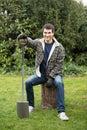 Man with shovel Royalty Free Stock Photo