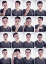 Man showing different emotions or expressions set of facial photo booth pictures Royalty Free Stock Photos