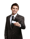 Man showing empty business card Stock Photo