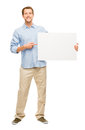 Man showing empty space white placard happy young Royalty Free Stock Image