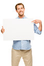 Man showing empty space white placard happy young pointing Stock Image