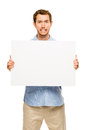 Man showing empty space white placard young Royalty Free Stock Photo