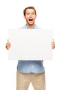Man showing empty space white placard young Stock Photo