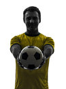 Man showing giving soccer football silhouette one in on white background Stock Image