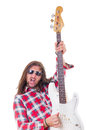 Man showing his electric bass guitar Stock Photography