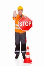 Man showing stop sign over white background Royalty Free Stock Photo