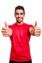 Man showing thumbs up over white background Royalty Free Stock Photos