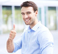 Man showing thumbs up portrait of confident business Stock Images