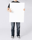 Man showing white blank board and thumbs up business advertisement concept Royalty Free Stock Photo