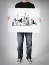 Man showing white board with city sketch business and architecture concept Stock Images