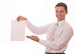 Man shows on blank paper Royalty Free Stock Photo