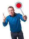 Man with signal portrait of holding green Royalty Free Stock Photography