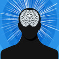Man silhouette with brain vector illustration of Stock Image