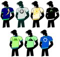 Man silhouette with decorated tshirts set representing a stylized a tshirt Stock Image