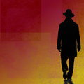 Man silhouette walking on abstract red background Royalty Free Stock Photo