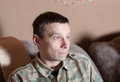 Man sincere amazement watching new tv show Stock Photos