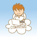 Man sit on cloud computing Stock Photography