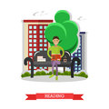 Man sitting on a bench in park, reading book and drinking coffee. Vector illustration in flat style design Royalty Free Stock Photo