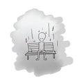 Man sitting on bench in rain cartoon drawing Stock Photos