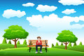 Man sitting on the bench a vector illustration of a in a park alone Royalty Free Stock Photo