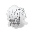 Man sitting in the rain alone Royalty Free Stock Photo