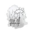 Man sitting in the rain alone Royalty Free Stock Photo
