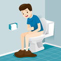 Man Sitting On Toilet, Suffering of Diarrhea And Abdominal Pain