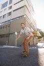 Man skating on city street Royalty Free Stock Photo