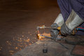 Man skilled working factory welder,cutting,grinding,drill Royalty Free Stock Photo