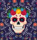 Muž lebka dekorácie kvety na mexičan udalosť