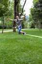 Man in the slackline Royalty Free Stock Images