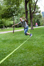 Man in the slackline Stock Photos