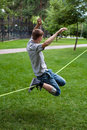 Man in the slackline Royalty Free Stock Photo
