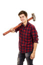 Man with a sledgehammer on white background Stock Image