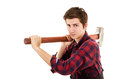 Man with a sledgehammer on white background Royalty Free Stock Images