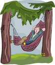 Man sleeping in hammock funny illustration of outdoors deep relaxation Stock Photos