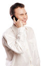 Man smiling and talking on phone isolated Royalty Free Stock Images