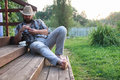 Man smoke pipe outdoor Royalty Free Stock Photo