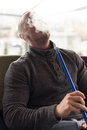 Man Smoking Shisha Outdoor Royalty Free Stock Photo