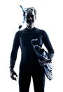 Man Snorkelers Snorkeling silhouette isolated Royalty Free Stock Photo