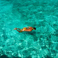 Man snorkeling in crystal clear turquoise water at tropical beach Stock Images
