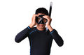 Man with snorkeling equipment isolated on white background Royalty Free Stock Photo