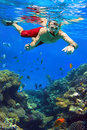 Man snorkeling in red sea of egypt Stock Image