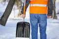 Man with a snow shovel Royalty Free Stock Photo