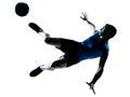Man soccer football player flying kicking Stock Photos