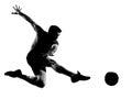 Man soccer football player flying kicking Stock Photography